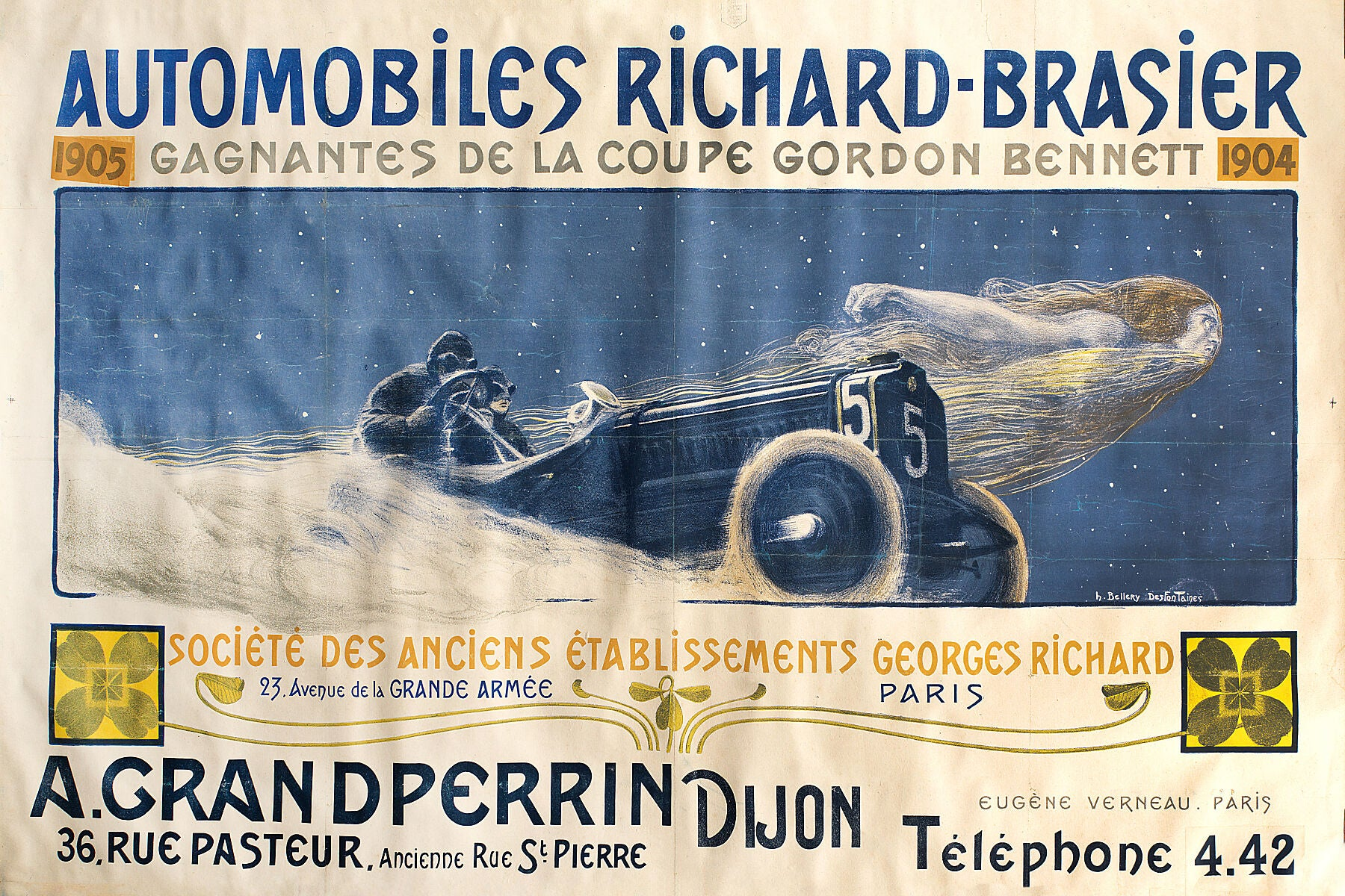 Automobiles Richard Brasier poster designed by Henri Bellery-Desfontaines - 1905