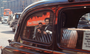 Two Men Reflected In A London Taxi by Bob Hyde - 1960s