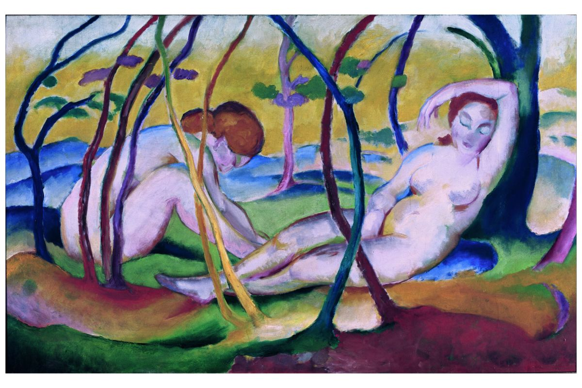 Nudes under Trees by Franz Marc - 1911