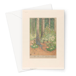 Forest with Decorated and Illuminated Christmas Trees by Willem Wenckebach, 1898 - Greeting Card