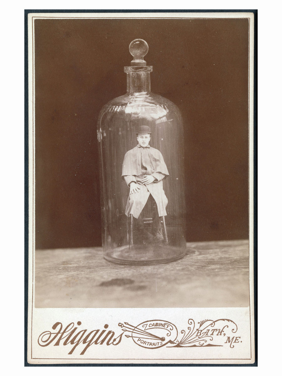 Man in a Bottle Cabinet Card by John C. Higgins - 1888