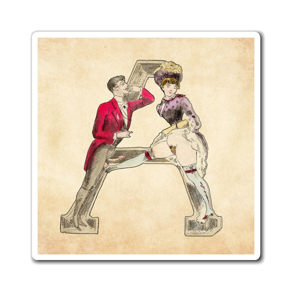 Magnet featuring the letter A from the Erotic Alphabet, 1880, by French artist Joseph Apoux (1846-1910)