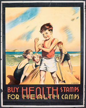 Poster, 'Buy Health Stamps', 1932, New Zealand, by Marmaduke Matthews