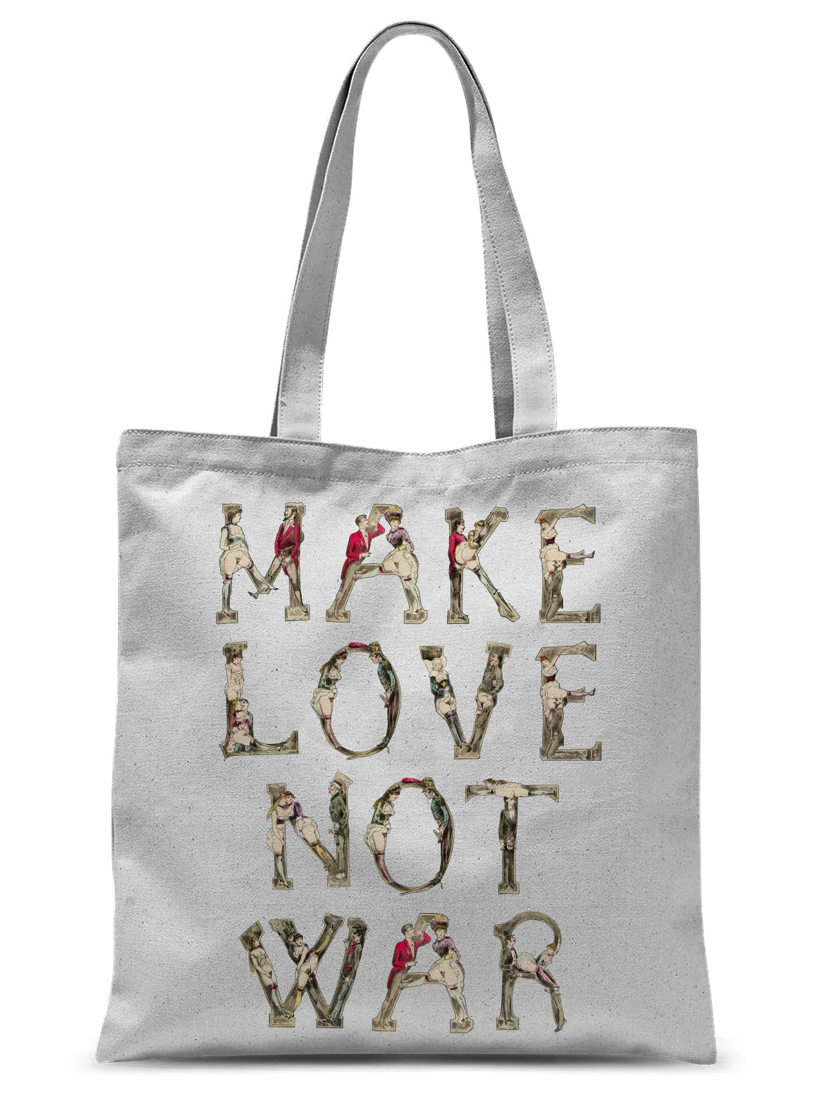 Make Love Not War, Erotic Alphabet (1880) Sublimation Tote Bag