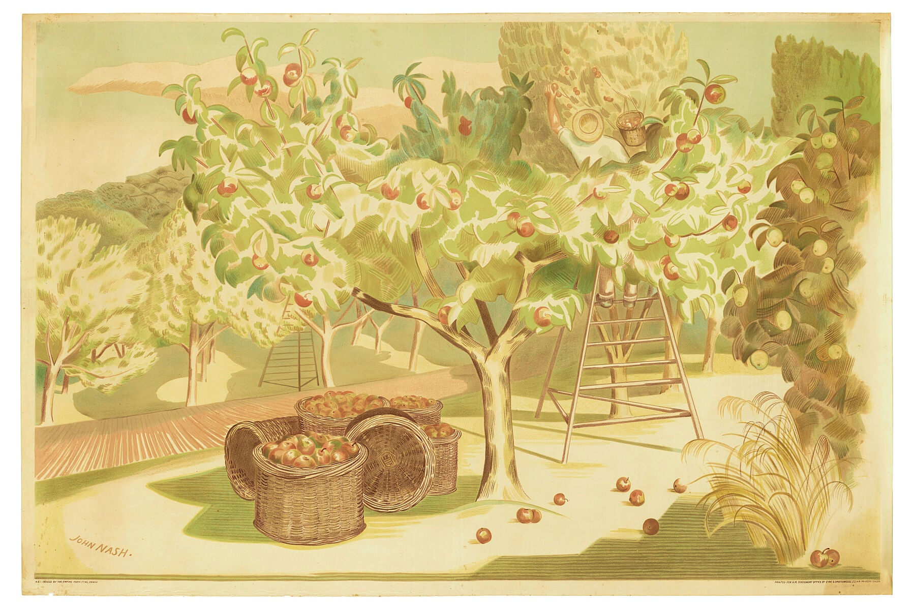 Poster, 'Fruit Gardens and Orchard', 1930, United Kingdom, by John Nash, Eyre & Spottiswoode Ltd., H.M. Stationery Office, Empire Marketing Board