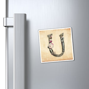 Magnet featuring the letter U from the Erotic Alphabet, 1880, by French artist Joseph Apoux (1846-1910).