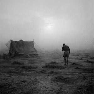 Cecil Beaton's image of a soldier battling his way through a sandstorm in the Western Desert during 1942. Imperial War Museum.