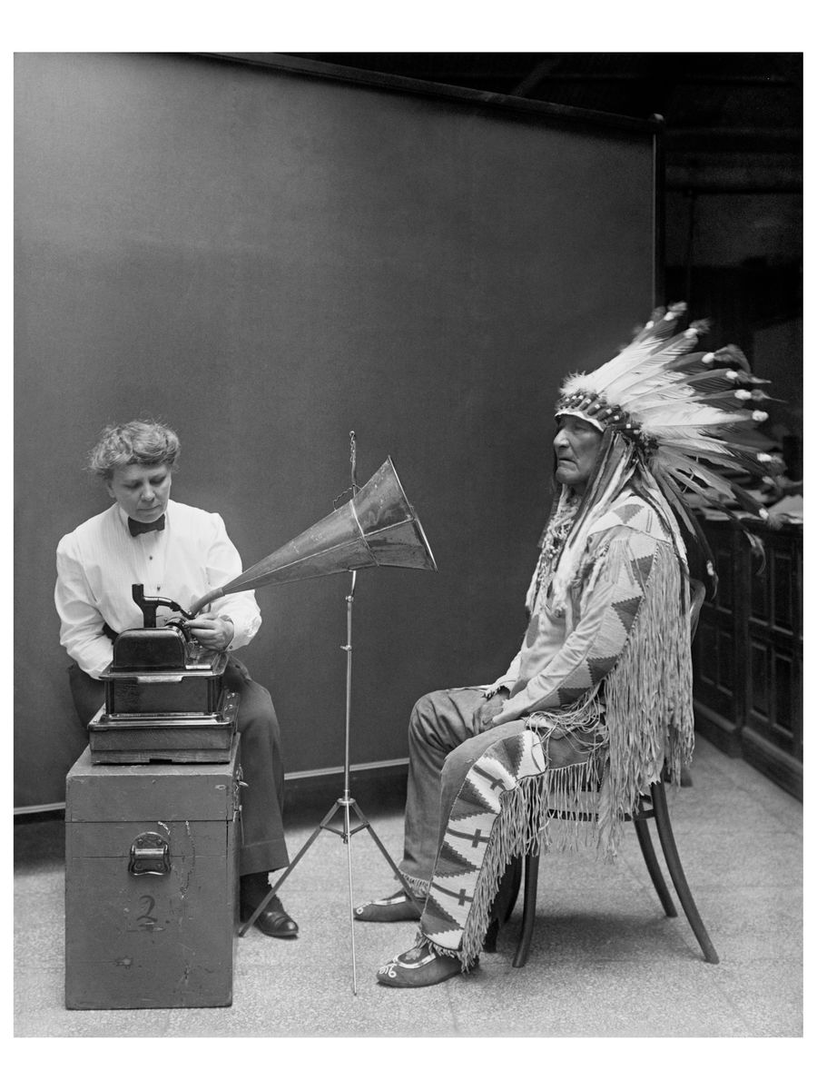 Frances Densmore at the Smithsonian with Mountain Chief - 1916