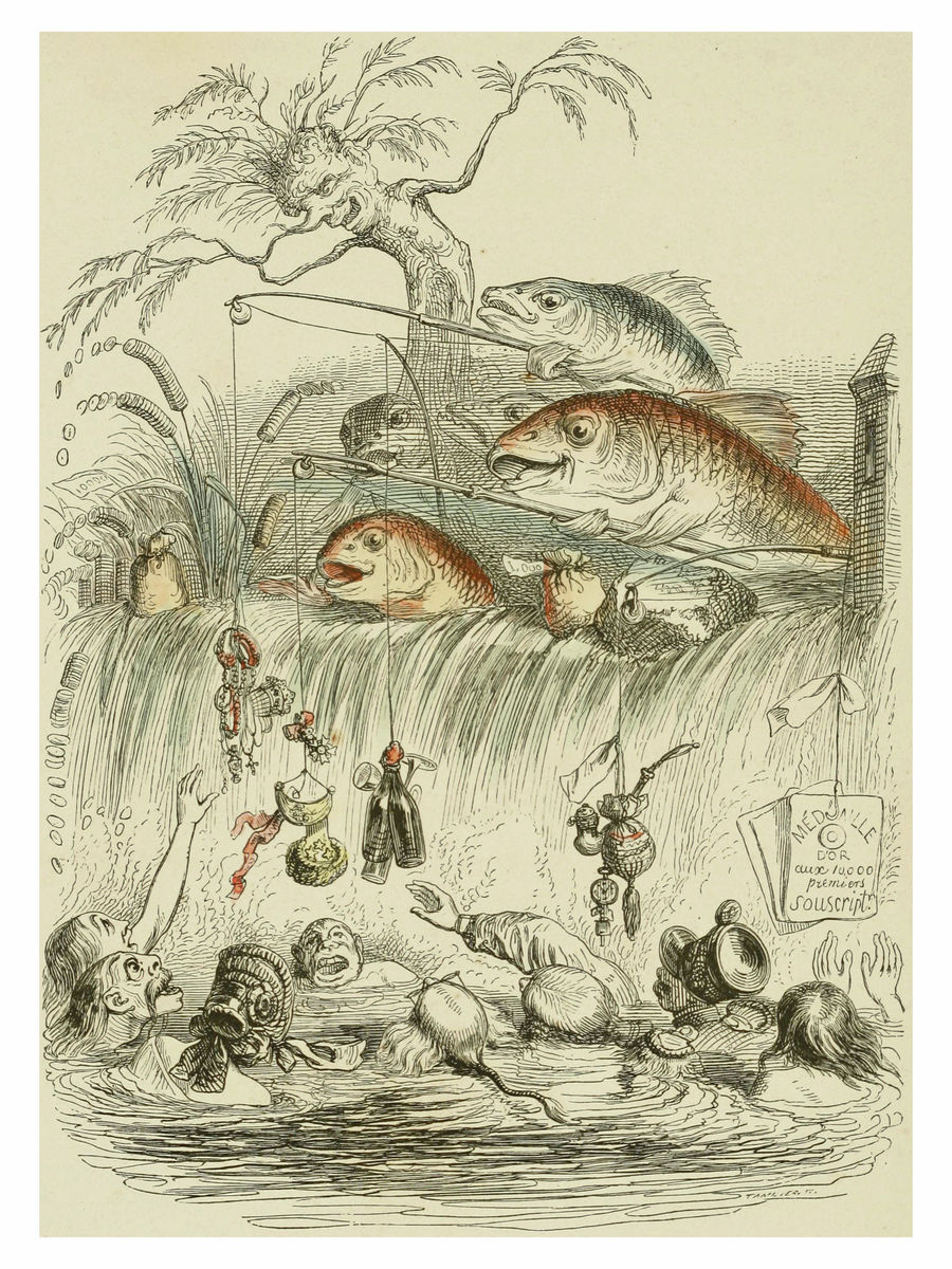 Fishing by J.J. Grandville - 1844