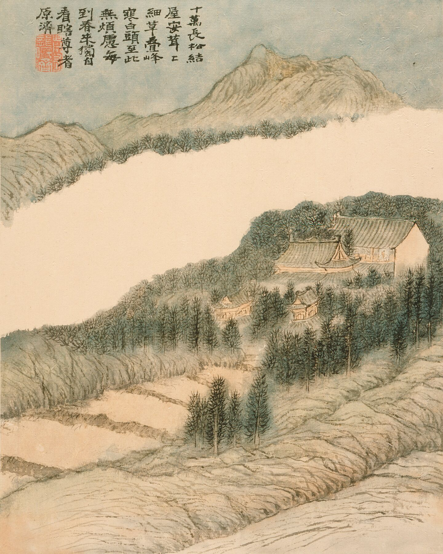Landscapes by Shitao (China, Guangxi Province, 1642-1707) China, Chinese, Qing dynasty, dated 1694. Eight-leaf album, ink and color on paper.