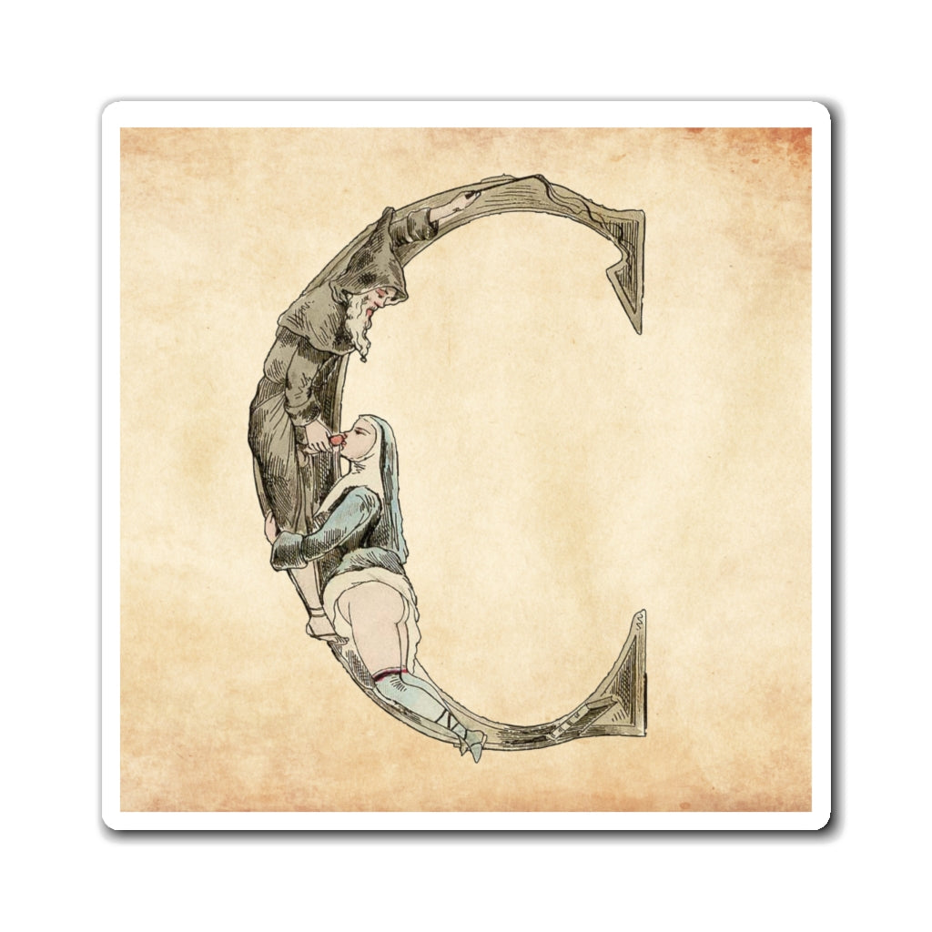 Magnet featuring the letter C from the Erotic Alphabet, 1880, by French artist Joseph Apoux (1846-1910)