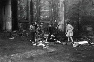Children Playing at a Glasgow Tenement by John J Brady - 1975