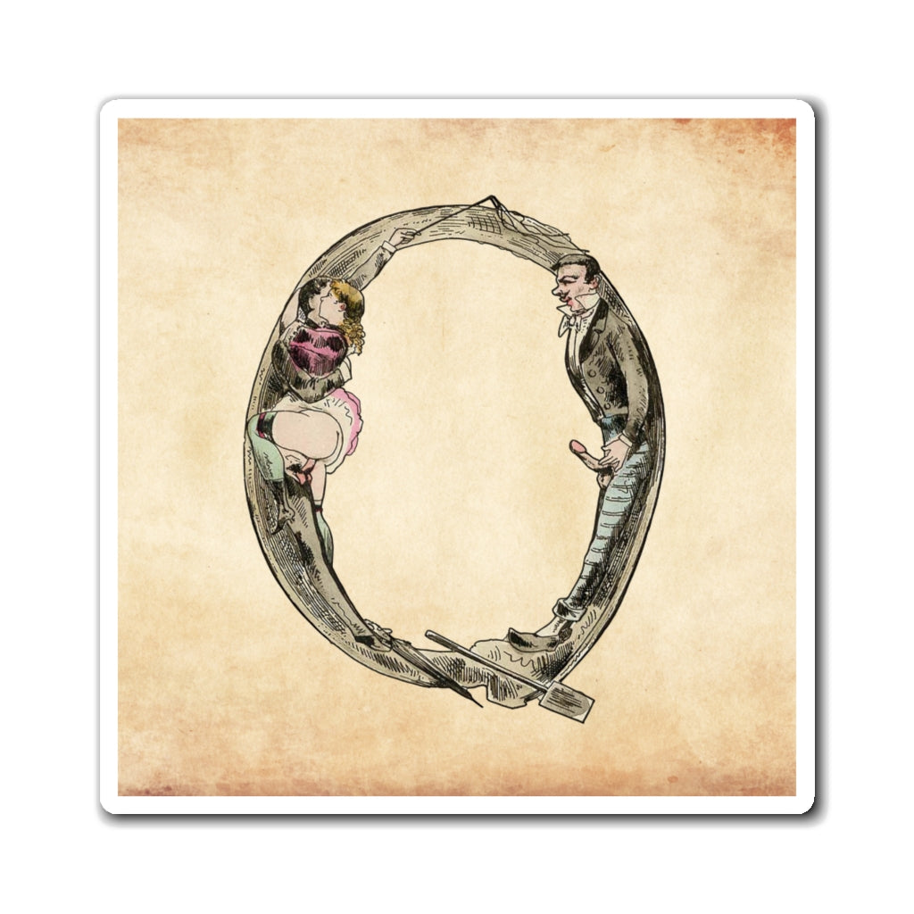 Magnet featuring the letter Q from the Erotic Alphabet, 1880, by French artist Joseph Apoux (1846-1910).