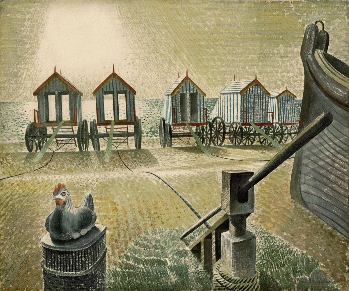 Aldeburgh Bathing Machines by Eric Ravilious, 1938
