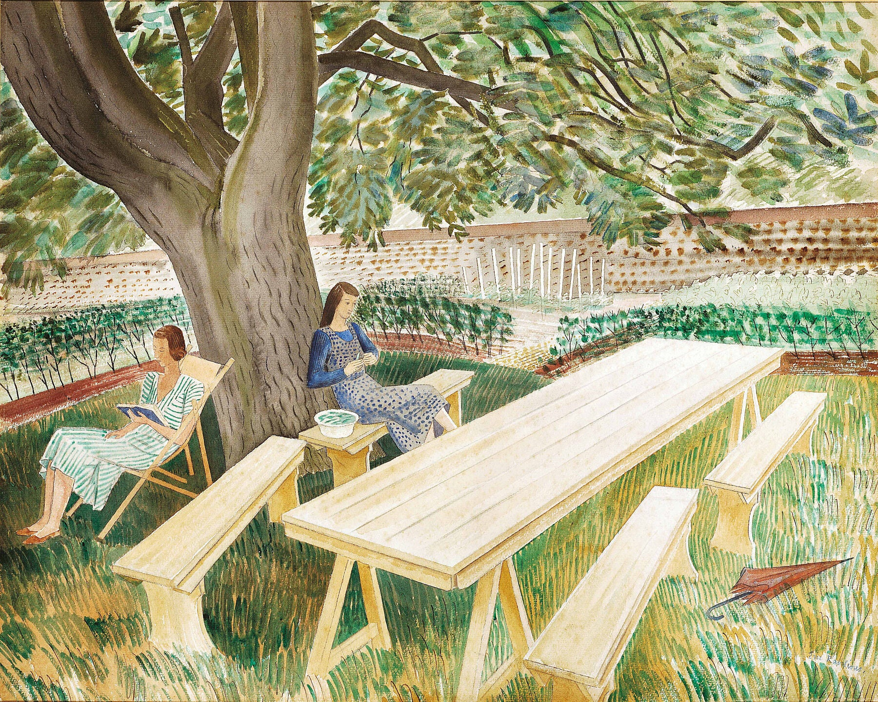Two women in a garden 1933 Watercolour. Painted at Brick House by Eric Ravilious. Depicts the artist's wife Tirzah Garwood (right; shelling peas) and Charlotte Bawden, wife of the artist Edward Bawden. The two couples shared the house from 1932-1934.