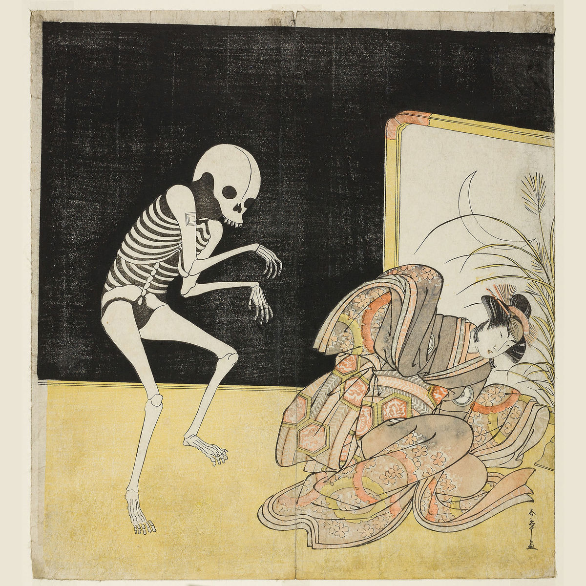 Actor Ichikawa Danjuro V As A Skeleton and Iwai Hanshiro IV as Princess Sakura by Katsukawa Shunsho - 1783