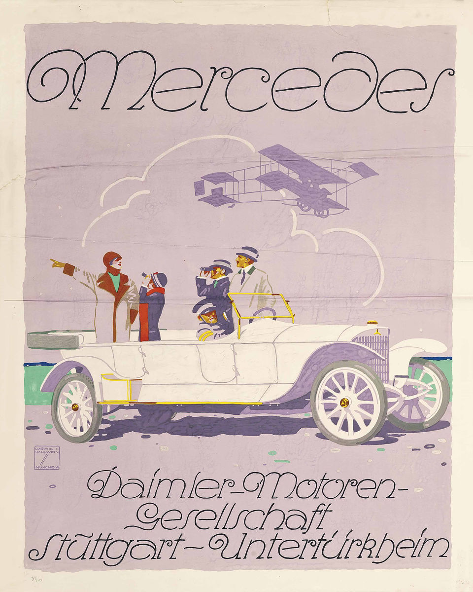 Mercedes lithograph in colours by Ludwig Hohlwein, 1914