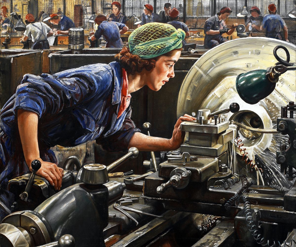 Ruby Loftus Screwing a Breech Ring by Laura Knight - 1943