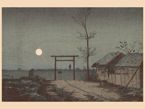 Before Tarō Inari Shrine at the Asakusa Ricefields by Kobayashi Kiyochika - 1881