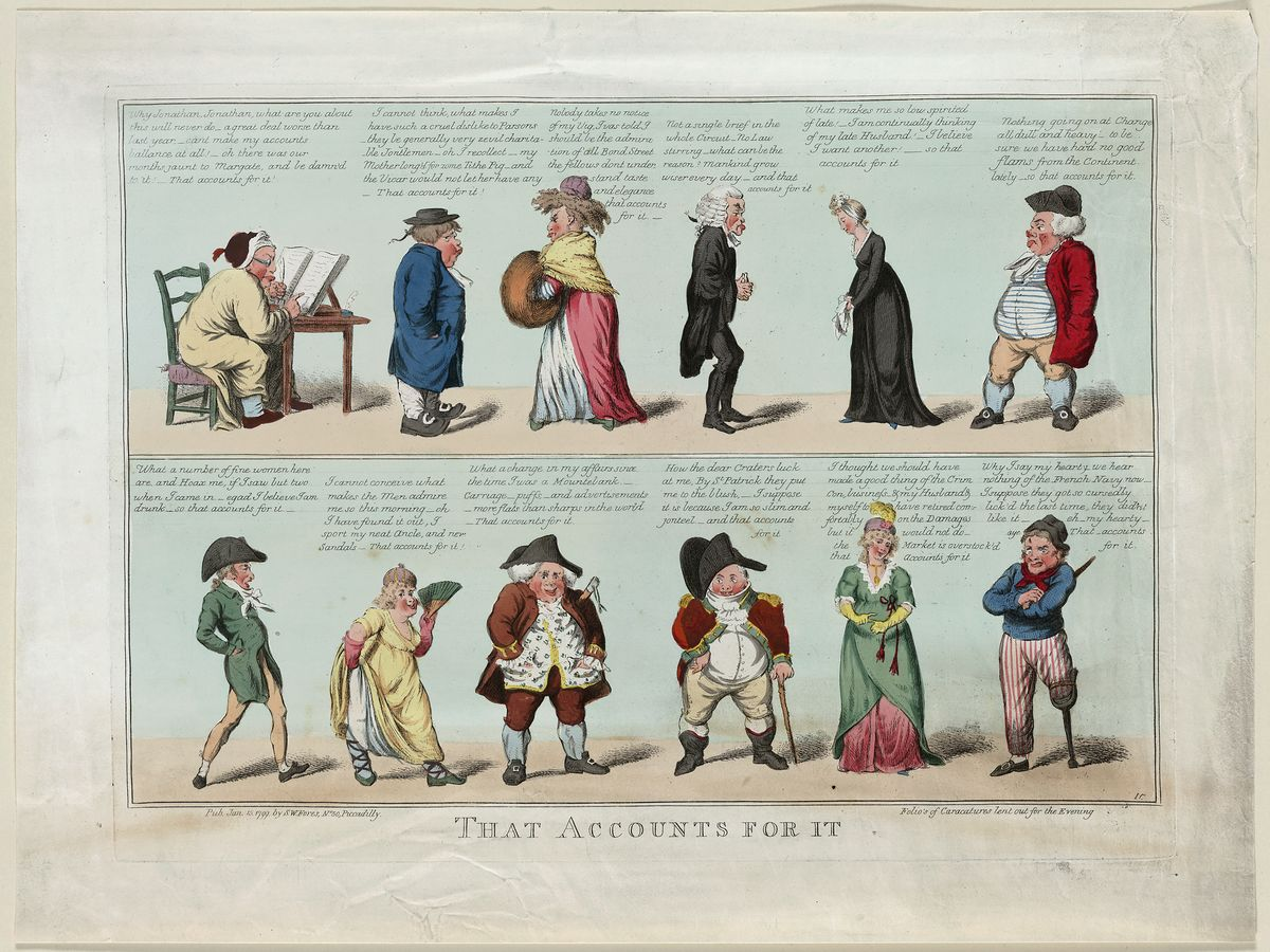 Folios of Caricatures Lent Out for the Evening by Isaac Cruikshank - 1799