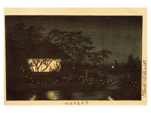 Koromo River Below the Temple Tennōji by Kobayashi Kiyochika - 1880