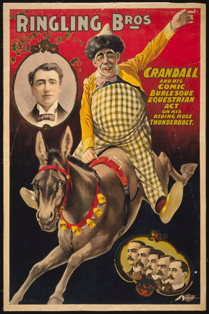 Ringling Bros.--Crandall and his comic burlesque equestrian act on his riding mule Thunderbolt c