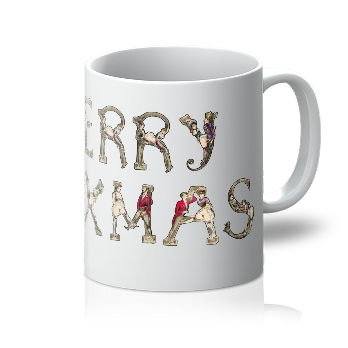 Merry XXXMas mug featuring letters from Joseph Apoux's erotic alphabet of 18