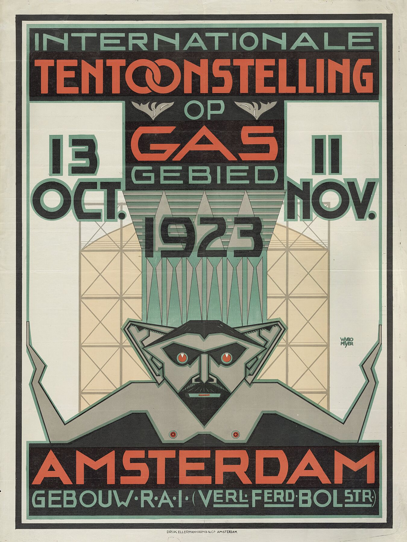 Poster for the International Gas Exhibition in 1923 by Wybo Meijer