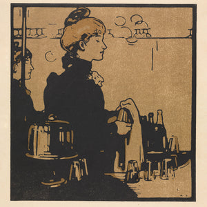 London Types : Barmaid by William Nicholson - 1898.  Printmaker William Nicholson worked in partnership with his brother-in-law James Pryde, under the pseudonym the Beggarstaff Brothers.