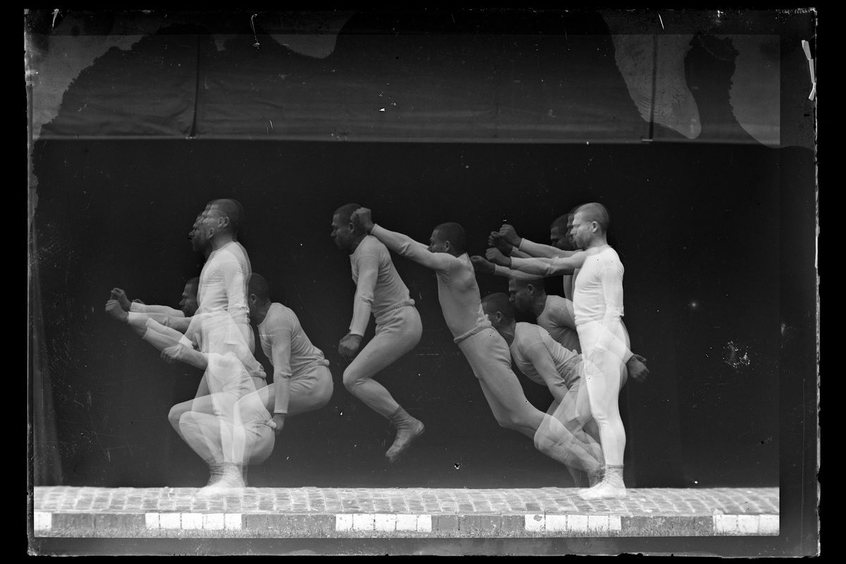 Fixed Plate Chronophotograph of a Long Jump From a Standing Still Position