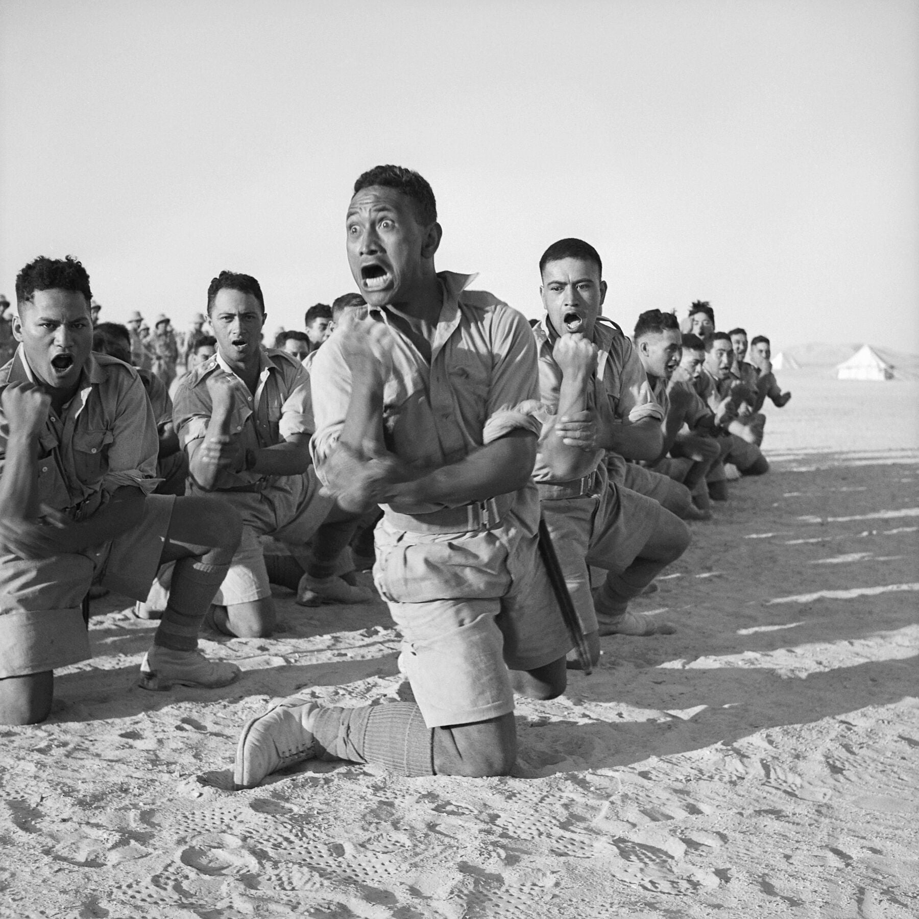 Maori Battalion Performing a Haka in Helwan, Egypt - 1941