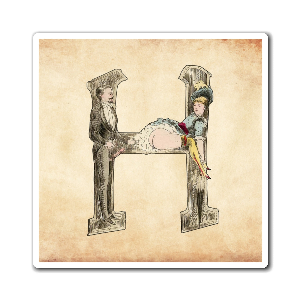 Magnet featuring the letter H from the Erotic Alphabet, 1880, by French artist Joseph Apoux (1846-1910).