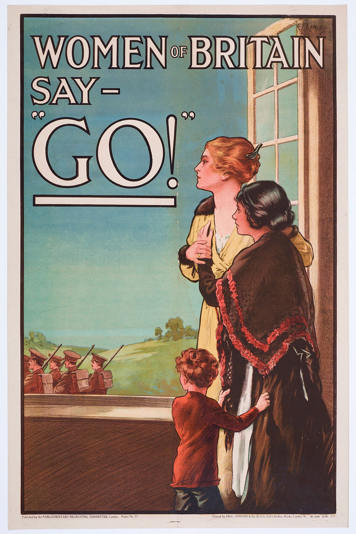 Poster, 'Women of Britain say - Go  Production Parliamentary Recruiting Committee; publisher; May 1915, United Kingdom