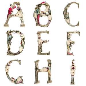 The Erotic Alphabet, 1880 - Magnets - Letters A-I
