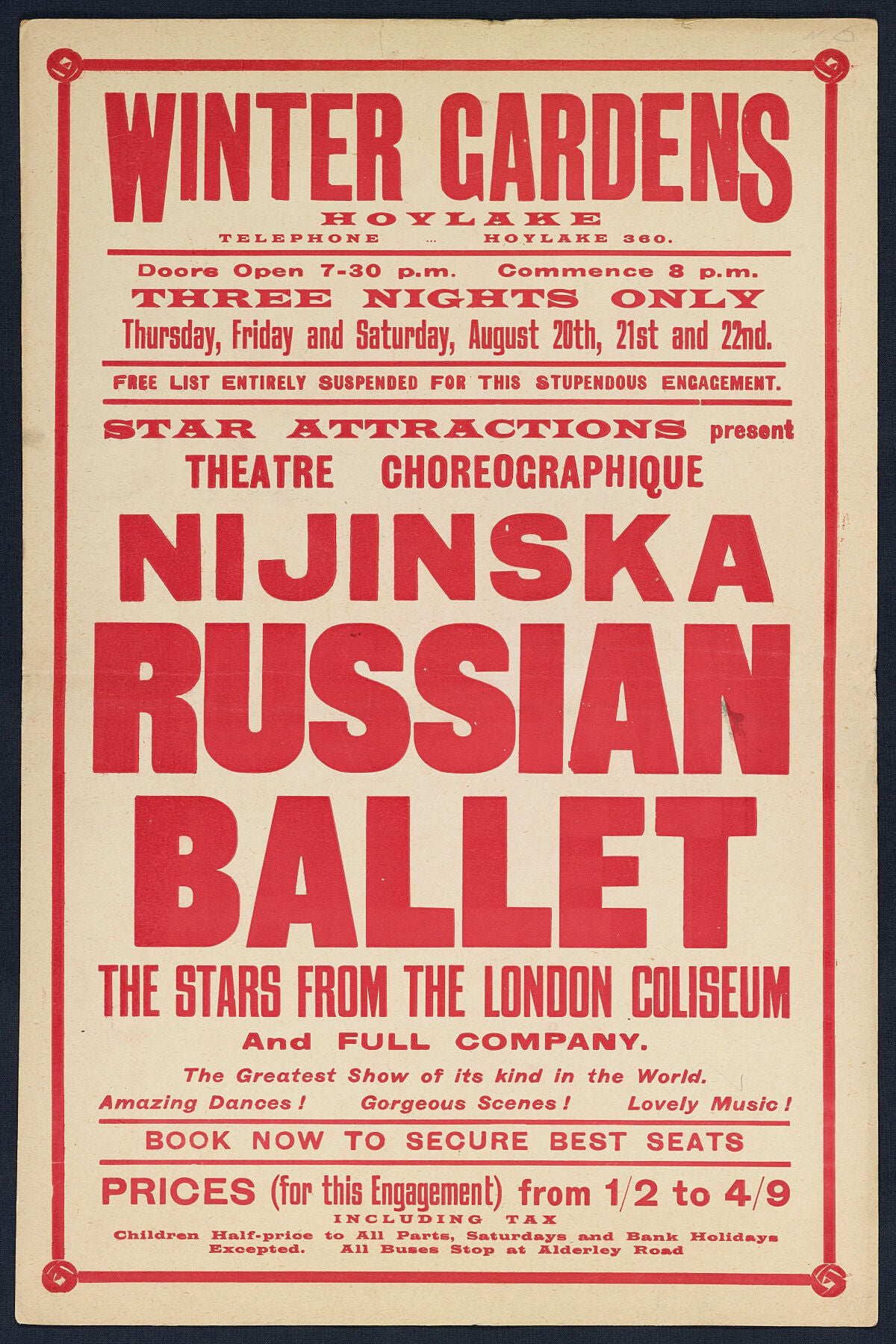 Russian Ballet at The Winter Gardens Theatre - August 1925