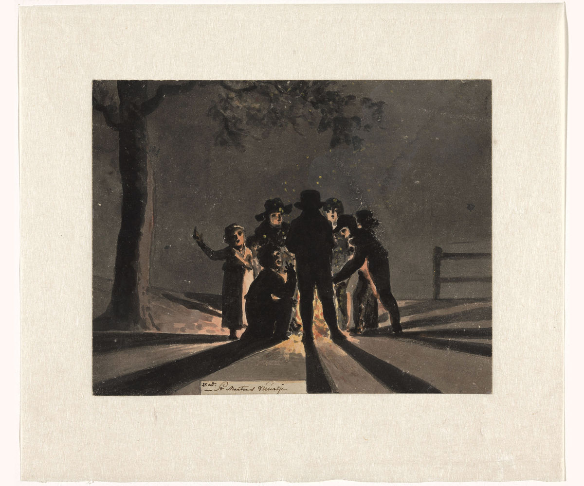 Children Around a Bonfire by Christiaan Andriessen - c.1806