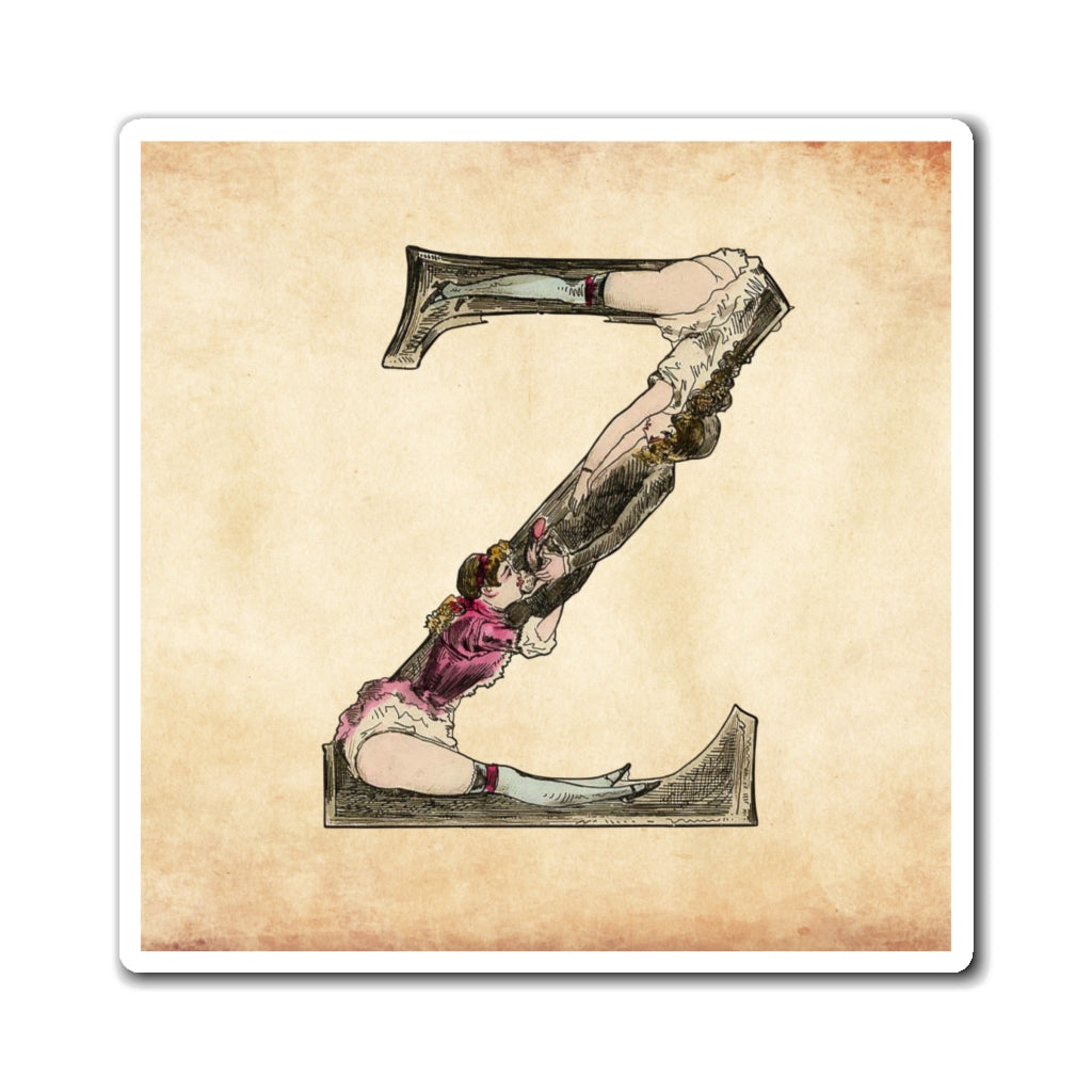 Magnet featuring the letter Z from the Erotic Alphabet, 1880, by French artist Joseph Apoux (1846-1910).