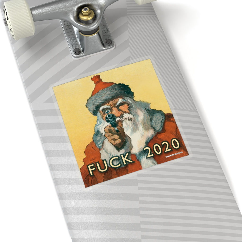 FUCK 2020 Sticker featuring Santa Claus With a Handgun by Will Crawford - 1912