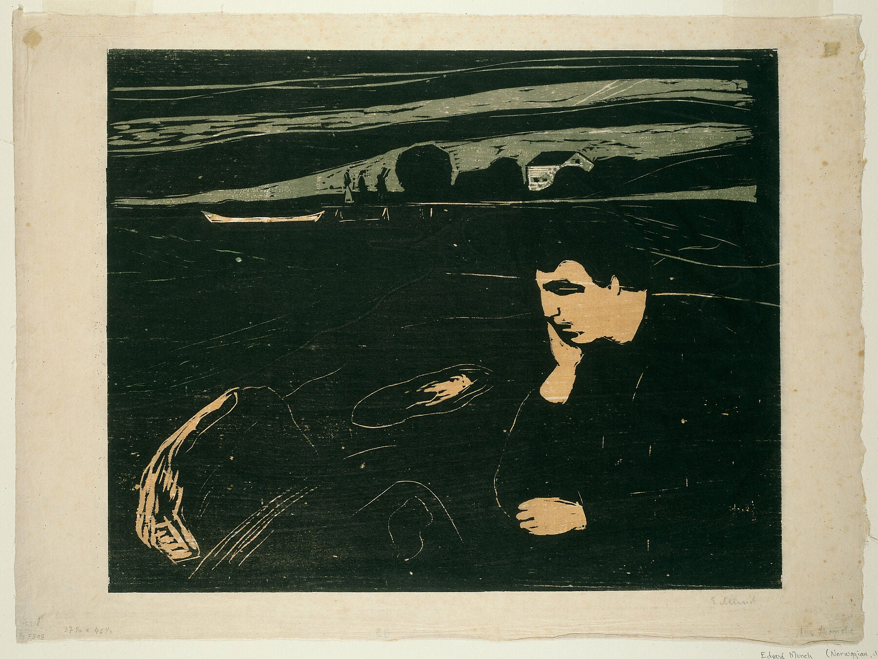 Melancholy III by Edvard Munch 1863-1944), 1902 - printed by Lassally (German, late 19th-early 20th century).