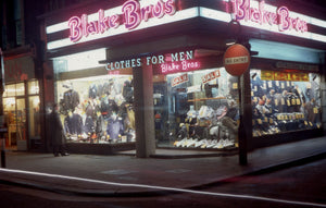 Blake Bros clothes store by Bob Hyde. Taken in the West End of London in the 1960s.