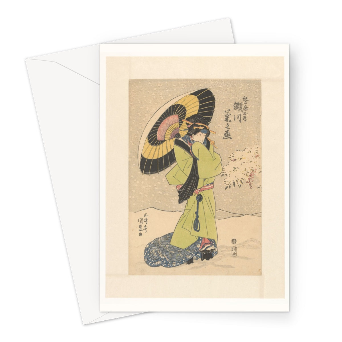 Concubine Mekame in Snow with Umbrella, Utagawa Kunisada (I), 1830 - Greeting Card