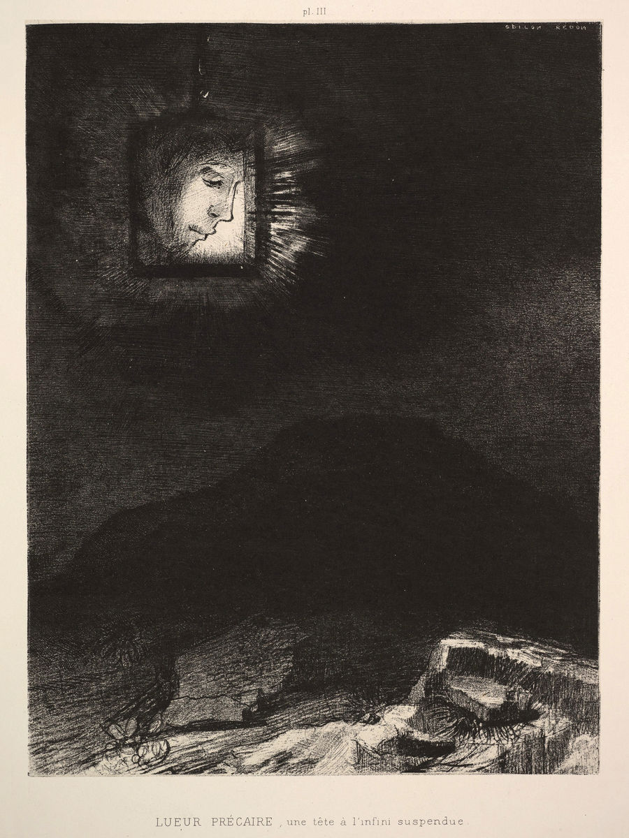 The Vague Glimmer of a Head Suspended in Space by Odilon Redon - 1891