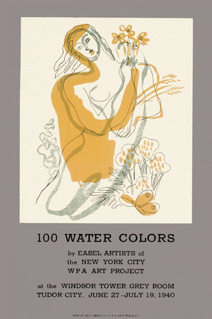 100 Water Colors show, WPA Art Project Poster - 1940