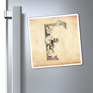 Magnet featuring the letter F from the Erotic Alphabet, 1880, by French artist Joseph Apoux (1846-1910).