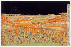 Nakano-chō Street in the Shin Yoshiwara Entertainment Quarter by Utagawa Toyoharu - 1770s
