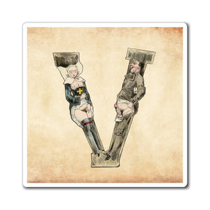 Magnet featuring the letter V from the Erotic Alphabet, 1880, by French artist Joseph Apoux (1846-1910).