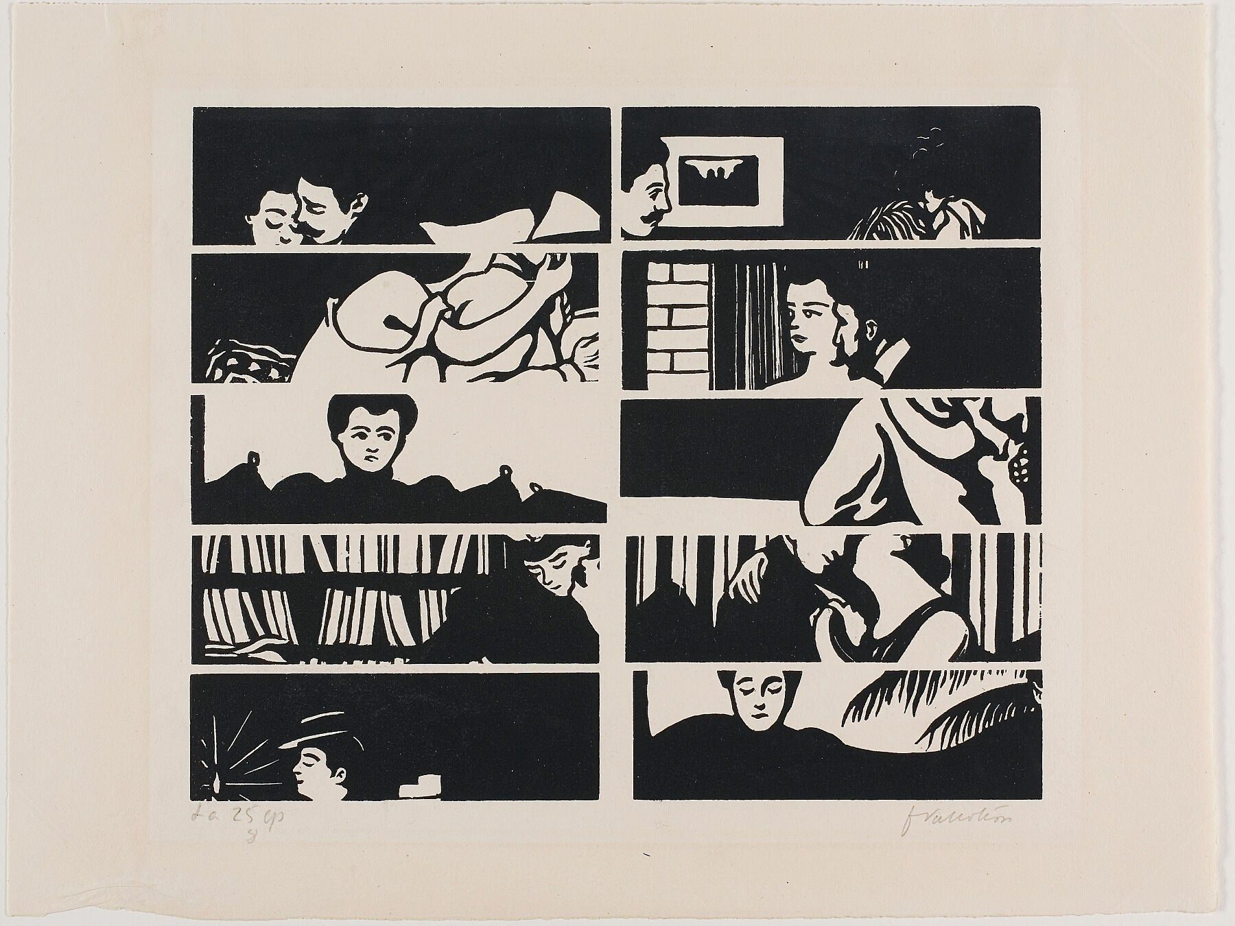 Cancellation sheet, fragments of ten woodblocks from Intimacies by Félix Edouard Vallotton, 1899.