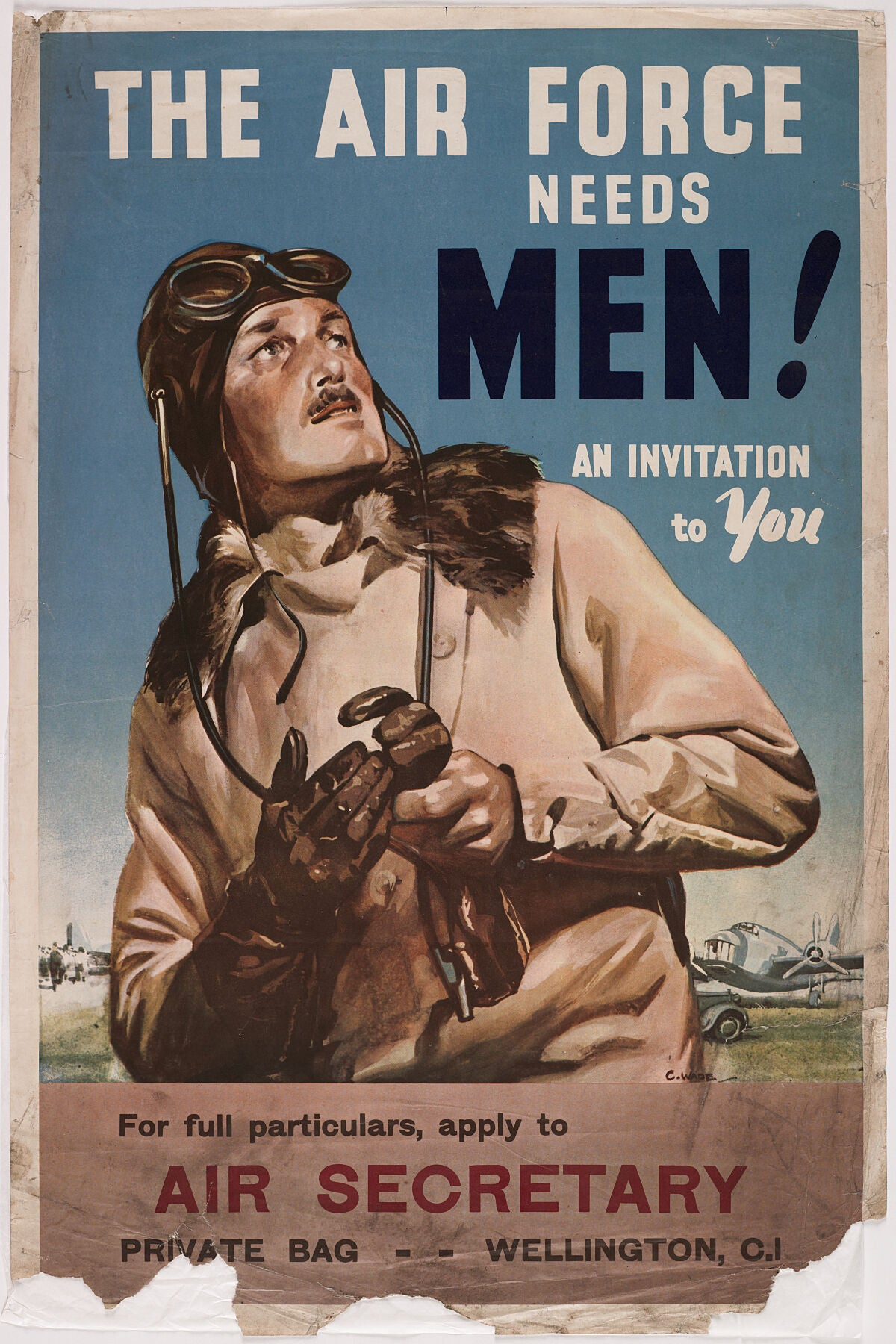 Poster, 'The Air Force Needs Men!', Early 1941, Wellington, by Claude Wade.