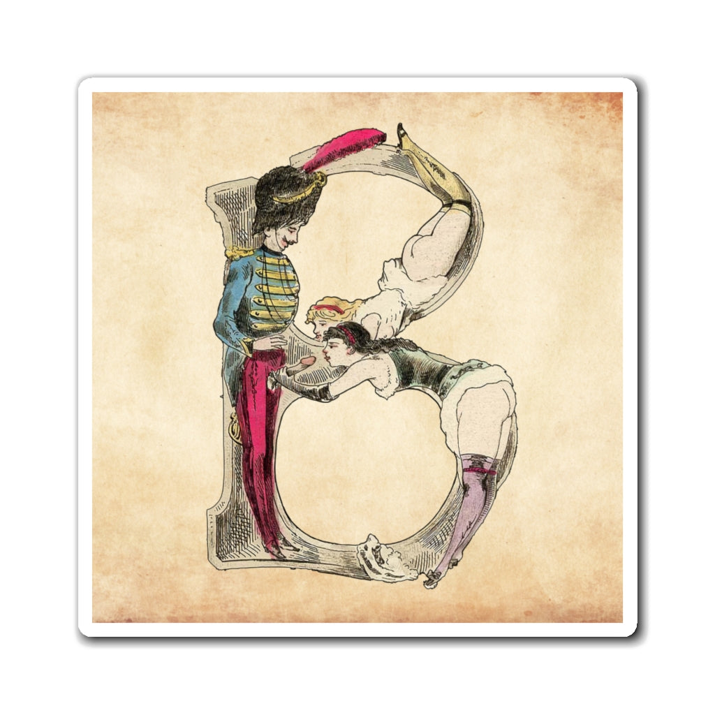 Magnet featuring the letter D from the Erotic Alphabet, 1880, by French artist Joseph Apoux (1846-1910).