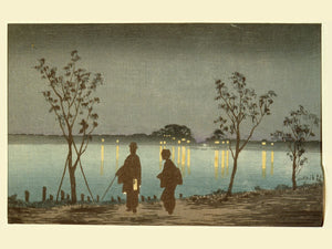 Night on The Sumida River by Kobayashi Kiyochika - 1881